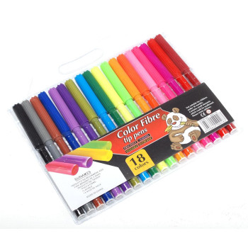 Комплект 18 броя цветни флумастри
