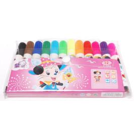 Комплект 12 броя цветни флумастри с печат