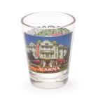 Комплект четири броя сувенирни стъклени чаши с декорация - забележителности от Варна