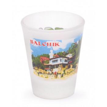 Комплект четири броя сувенирни стъклени чаши с декорация - забележителности от Балчик