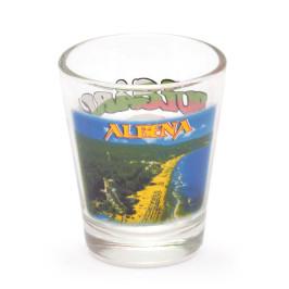 Комплект четири броя сувенирни стъклени чаши с декорация - забележителности от Албена и черноморието