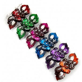 Шнола за коса от цветна пластмаса с декоративни камъчета