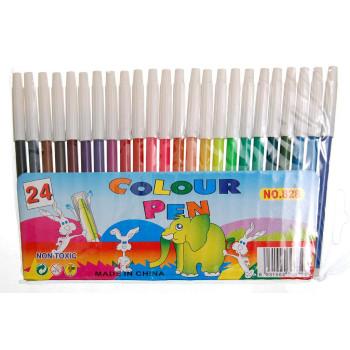 Комплект 24 броя цветни флумастри