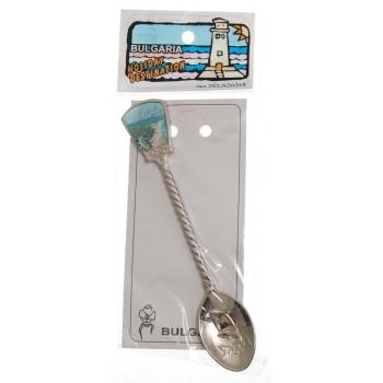 Сувенирна метална лъжичка с декоративна инкрустация - Албена
