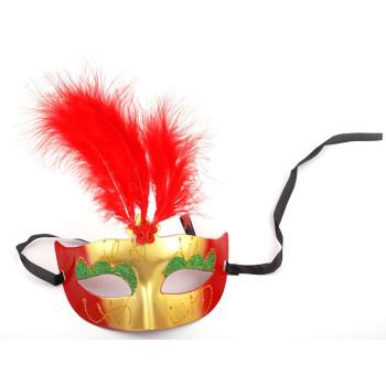 Декоративна маска - тип домино с връзки, декорирано с брокат и естествени пера
