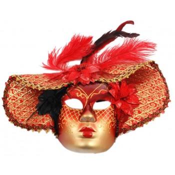 Декоративна маска за лице, украсена с три цветя и естествени пера