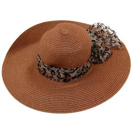 Красива дамска шапка с голяма периферия - тъмно кафява