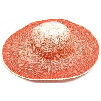 Красива дамска шапка с голяма периферия - оранжева