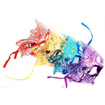 Декоративна едноцветна маска - тип домино с връзки