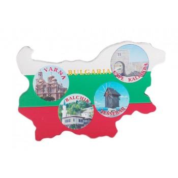 Сувенирна магнитна пластинка във формата на картата на България - катедралата във Варна, двореца в Балчик, старата мелница в Несебър и крепостта в Калиакра