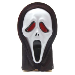 Светеща карнавална маска - призрак с черен тензух за главата