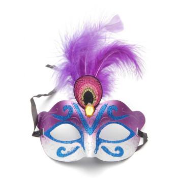 Декоративна маска - тип домино, декорирана с брокат, камъчета и пера