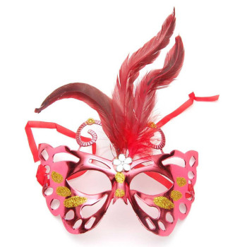 Декоративна маска - тип домино с брокат и цветни пера