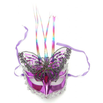 Декоративна маска - тип домино с декоративна пеперуда от пайети