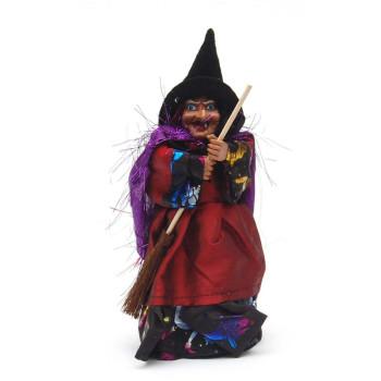 Сувенирна кукла - Баба Яга, държаща метла