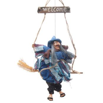 Сувенирна кукла - Баба Яга яхнала метла, издаваща звуци