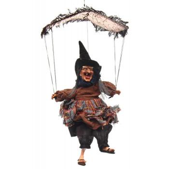 Сувенирна кукла - Баба Яга с парапланер, издава звуци и движи крака