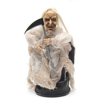 Сувенирна кукла - призрак със сърп, клякащ и издаващ звуци