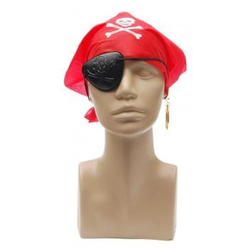 Парти комплект - пиратска превръзка за око, обеца с клипс за закачане и кърпа за грана