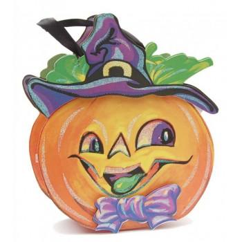 Цветна подаръчна торбичка с брокат в тематична форма - Хелоуин