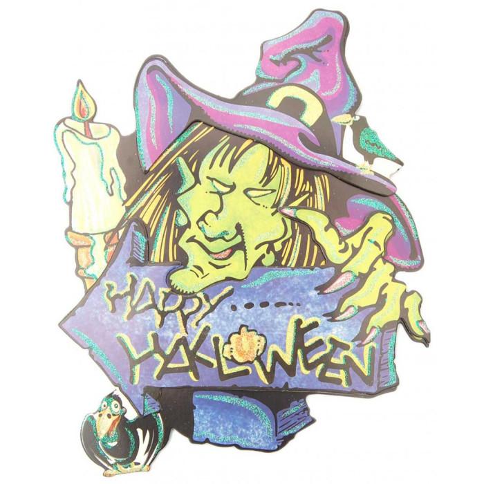 Цветен стикер с брокат в тематична форма - Хелоуин