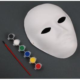 Бяла карнавална маска с шест броя боички и четка