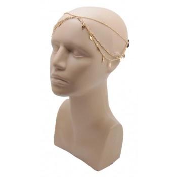 Аксесоар за глава - метални листенца с камъчета