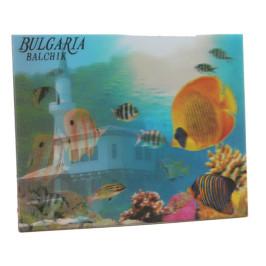 Магнитна пластинка с холограмни изображения - двореца в Балчик и цветни рибки