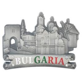 Сувенирна метална пластинка с магнит, декорирана със зебележителности от Балчик, Несебър, Калиакра и Варна и надпис - България