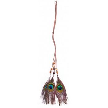 Аксесоар за коса от три паунови пера и велурена лента, с който може да се направи красива и оригинална прическа