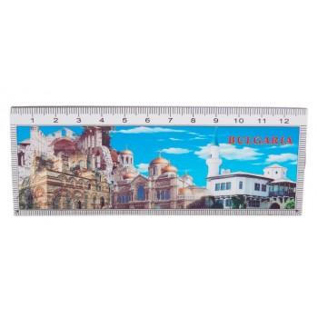 Сувенирна магнитна пластина с лазерна графика - забележителности в Несебър, катедралата във Варна и двореца в Балчик