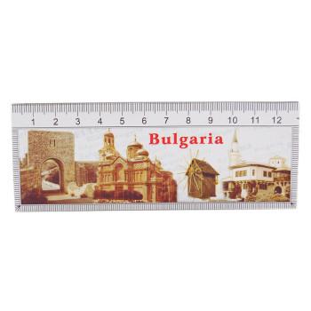 Сувенирна магнитна пластина с лазерна графика - портата на крепостната стена в Калиакра, катедралата във Варна, старата мелница в Несебър и двореца в Балчик