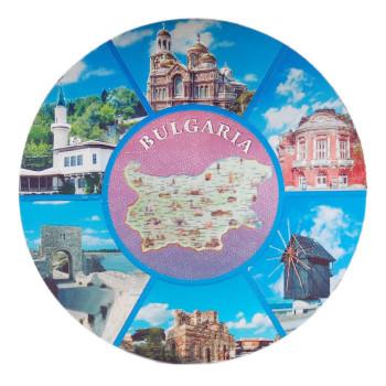 Кръгла магнитна пластина с лазерна графика - карта на България и забележителности във Варна, Несебър, Калиакра и Балчик