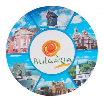 Кръгла магнитна пластина с лазерна графика - логото на България и забележителности във Варна, Несебър, Калиакра и Балчик
