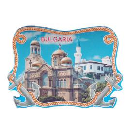 Сувенирна магнитна фигурка с лазерна графика - катедралата във Варна и двореца в Балчик