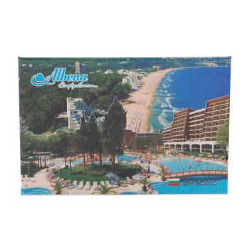 Сувенирна твърда магнитна пластина - плажовете и хотели в Албена