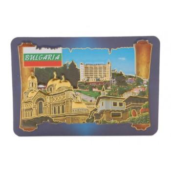 Сувенирна релефна магнитна пластинка - катедралата във Варна, х-л Адмирал на Златни пясъци и двореца в Балчик