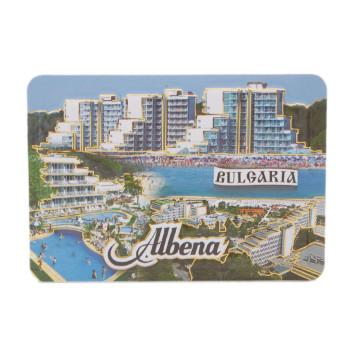 Сувенирна релефна магнитна пластинка - плажове и хотели на Албена