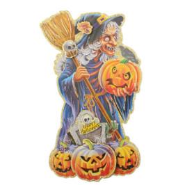 Цветен стикер с брокат в тематична форма за Хелоуин - вещица