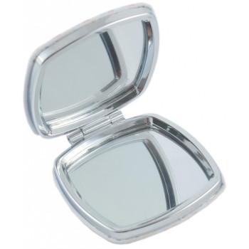 Сувенирно джобно огледало, изработено от изкуствена кожа и метал
