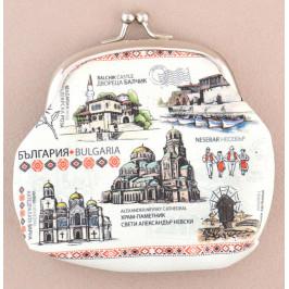 Сувенирно малко портмоне от изкуствена кожа с изобразени - Варна, Балчик, Несебър и София