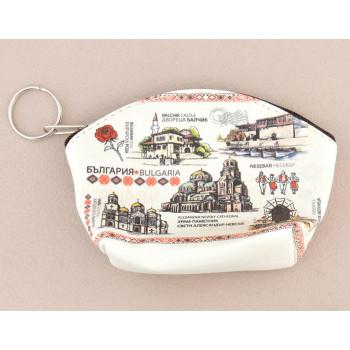 Сувенирно малко портмоне от изкуствена кожа с изобразени забележителности от Балчик, Варна, Несебър и София