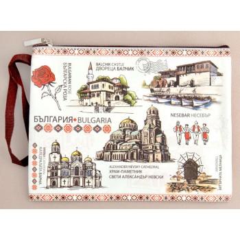 Сувенирно портмоне от изкуствена кожа с изобразени забележителности от Балчик, Варна, Несебър и София и надпис България