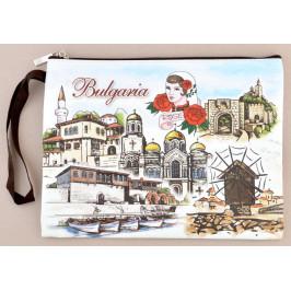 Сувенирно портмоне от изкуствена кожа с изобразени забележителности от Балчик, Варна, Несебър и Велико Търново и надпис България
