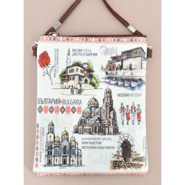 Сувенирна чантичка от изкуствена кожа с изобразени забележителности от Балчик, Варна, Несебър и София и надпис България