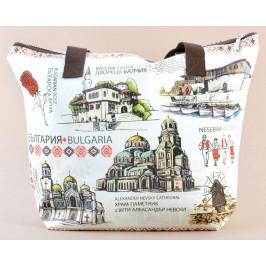 Лятна текстилна чанта с изобразени забележителности от Балчик, Варна, Несебър и София