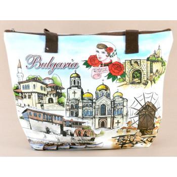 Лятна текстилна чанта с изобразени забележителности от Балчик, Варна, Несебър и Велико Търново