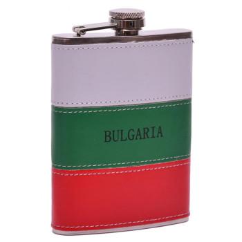 Стилна метална манерка - декорирана с изкуствена кожа в цветовете на българския трикольор и надпис - България