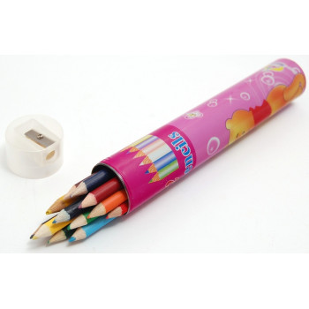 Комплект от 12 броя цветни моливи с острилка в красива кутия с размери 19х3