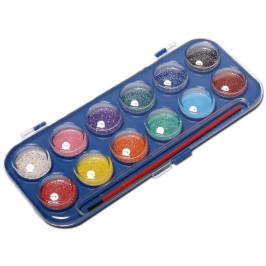 Комплект от 12 цвята водни бои с брокат за рисуване с четка в кутийка